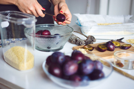 Plums ready for baking a cake