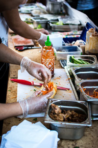Preparing Vietnamese baguette