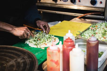 Preparing vegetables wrap