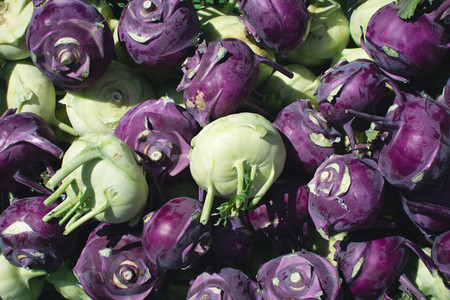 Purple and green mix of cohlrabi