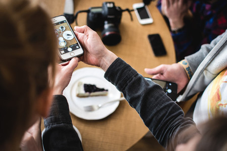 Shooting cheesecake with phone