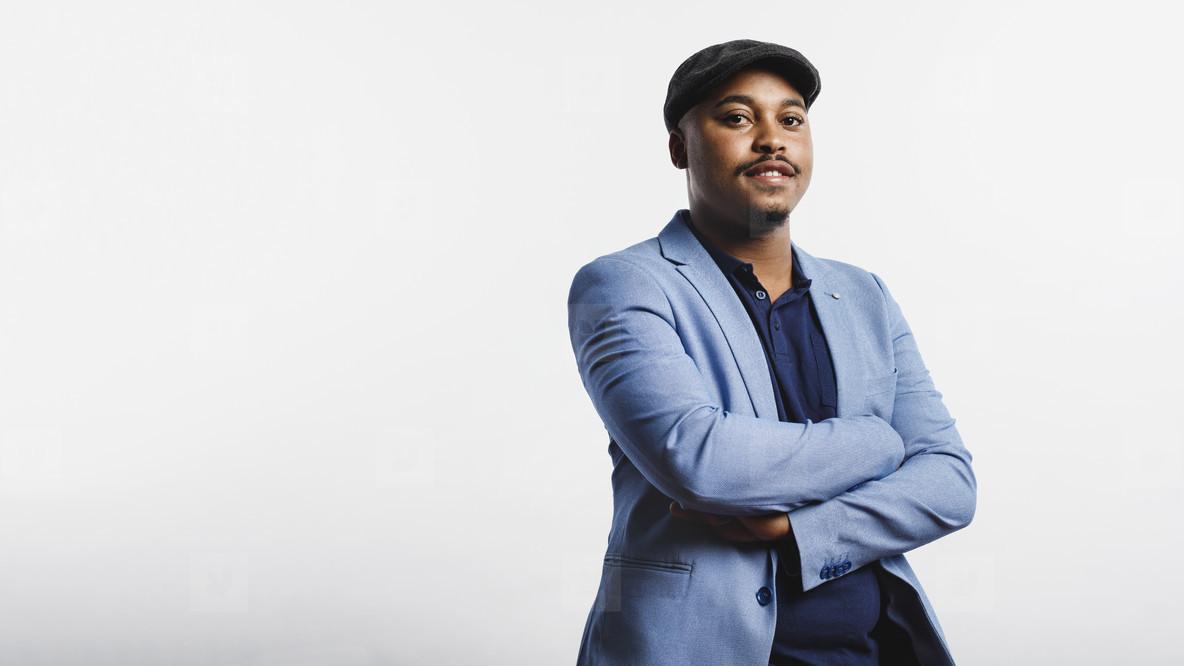 Portrait of businessman in cap