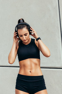 Woman listening music after workout