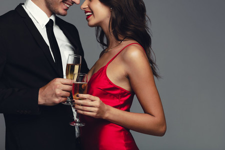 Classy couple with champagne