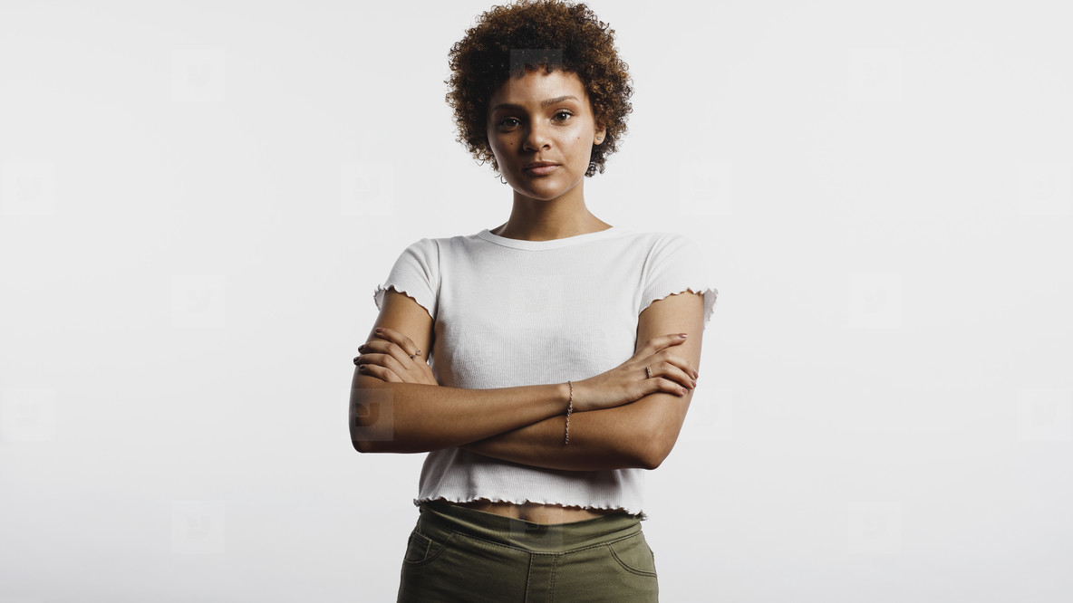 Portrait of a curly haired woman