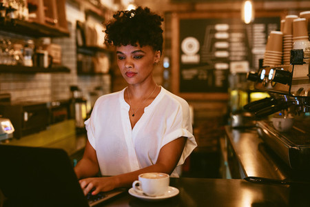 Female cafe owner using laptop