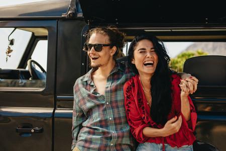 Couple enjoying on a roadtrip
