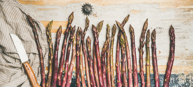 Raw uncooked purple asparagus