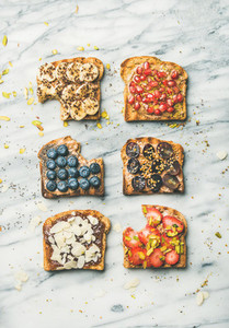 Healthy breakfast or snack with wholegrain toasts  top view