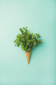 Waffle cone with fresh mint over blue background vertical composition