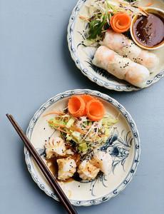 Dim sum dumplings and summer rice paper rolls