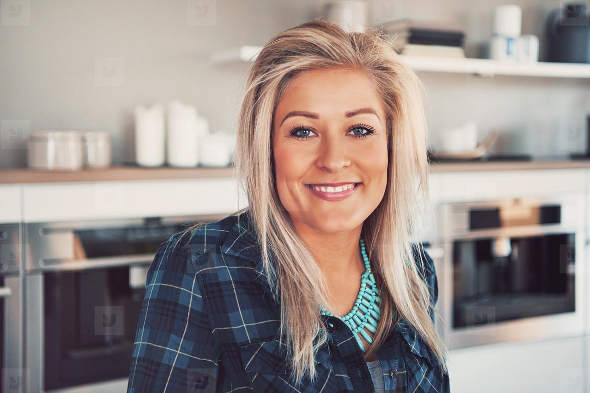 Cute blond woman in restaurant