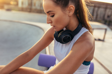 Woman resting after outdoor workout