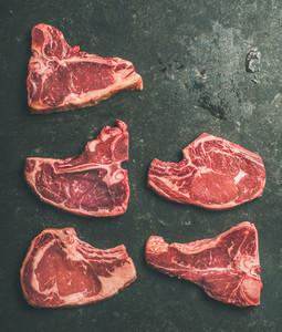 Raw beef meat steak cuts Flat lay of fresh raw