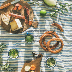 Summer picnic set  Flat lay of summer picnic set with fruit