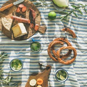 Summer picnic set Flat lay of summer picnic set with fruit