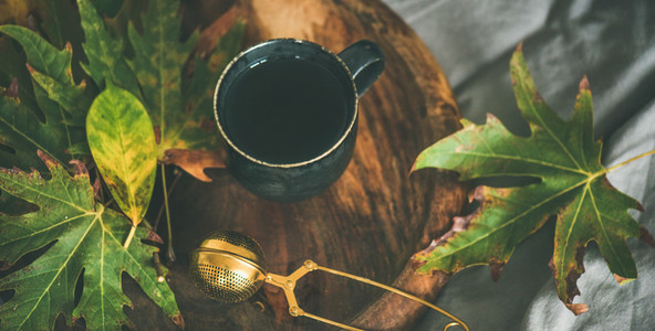 Mug of tea with sieve and colofrul autumn leaves