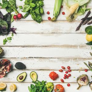 Healthy raw summer vegan ingredients