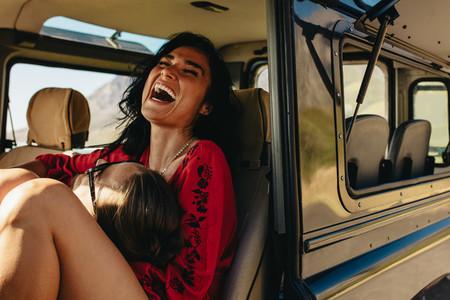 Couple having fun on road trip