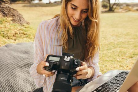 Woman blogger at work