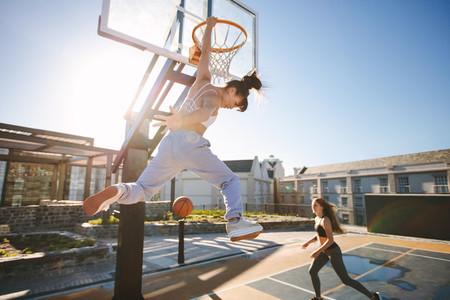Women playing a streetball