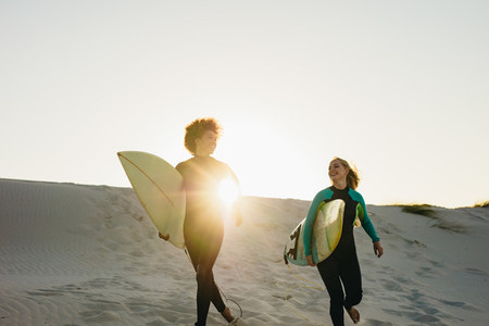 Women going for surfing