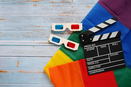 clapperboard with LGBTQ flag