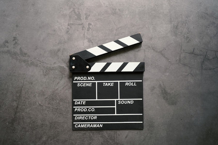 clapperboard in flat lay style