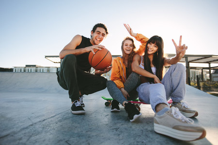 Youngsters hanging out at a skate park