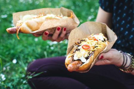 Enjoying hot dog