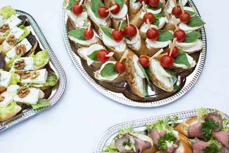 Small open sandwiches at party