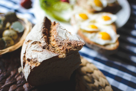 Sourdough bread with quail eggs