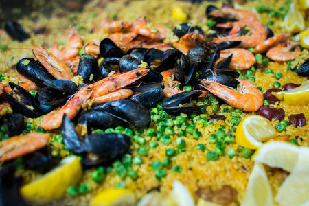 Spanish paella with shrimps