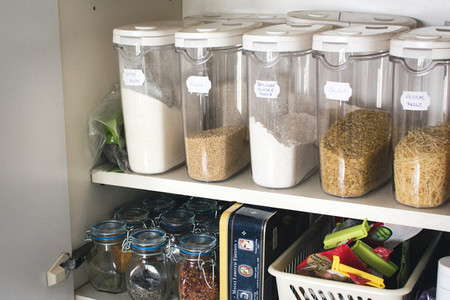 Spices containers in kitchen