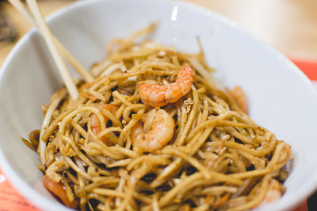 Spicy egg noodles with shrimps
