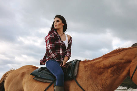 Attractive equestrian on her horse