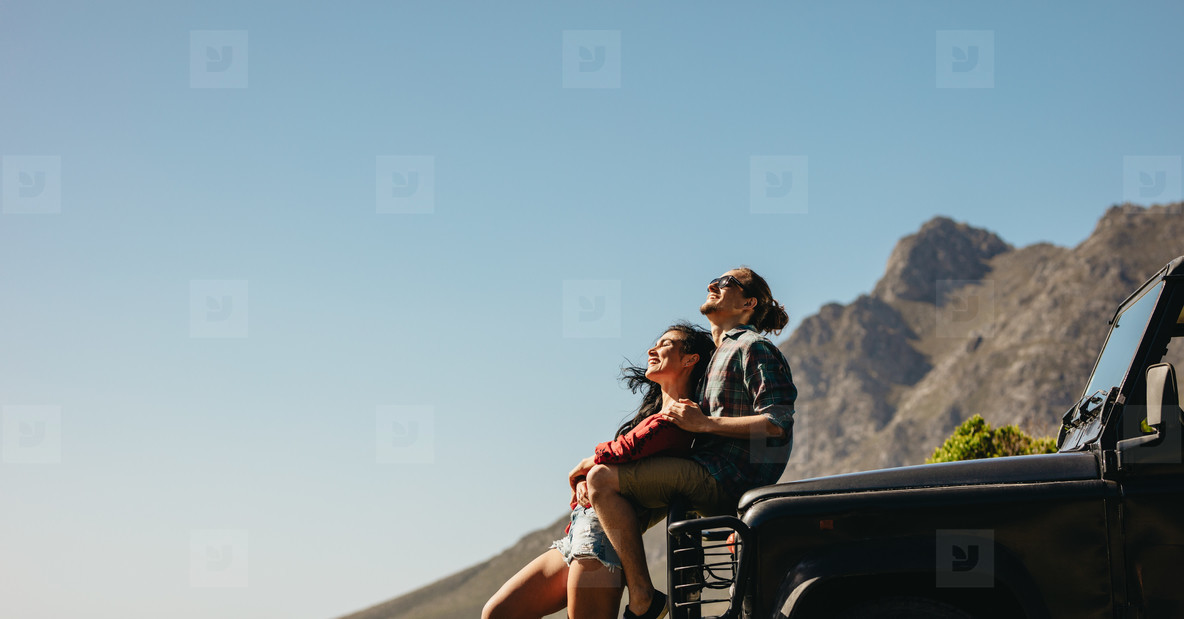 Enjoying summer vacation on a road trip