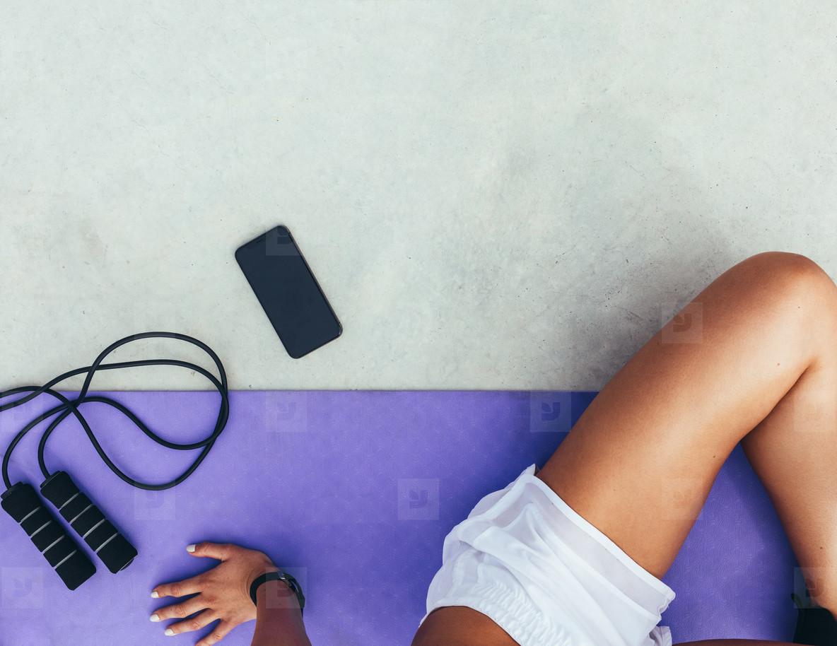 Woman taking a break after workout