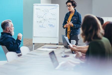 Female entrepreneur sharing business plans