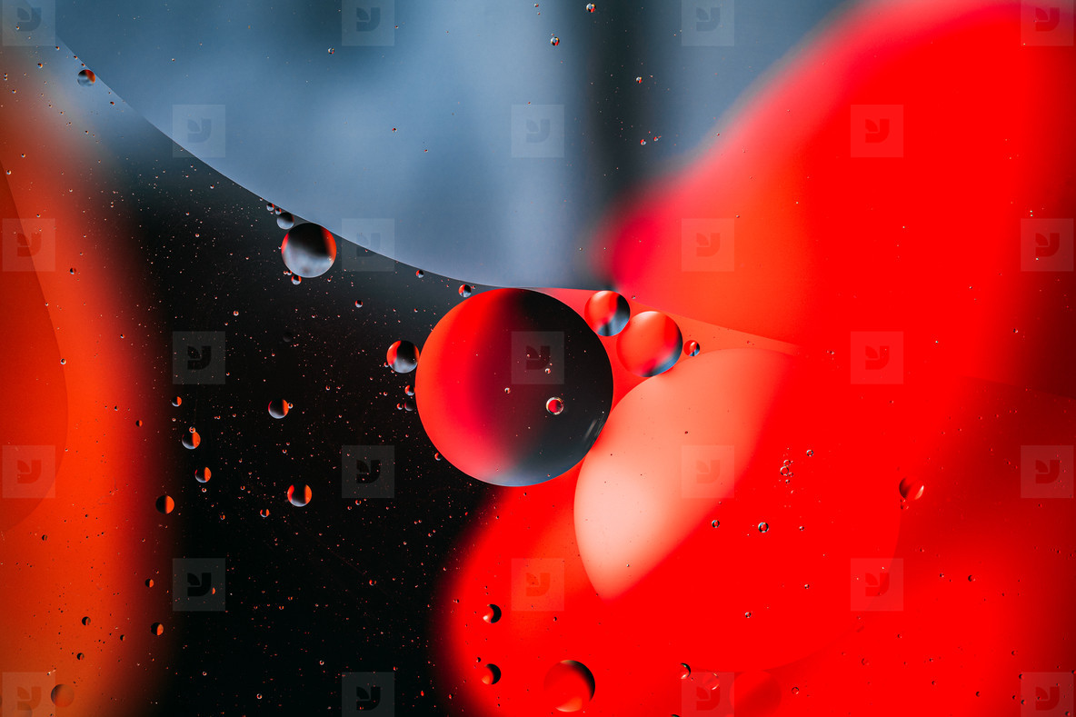 Abstract red and blue liquid macro photography  colorful background
