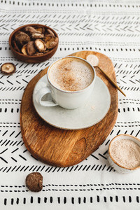 Mushroom latte with shiitake powder and unsweetened coconut almond blend milk  Healthy useful vegan drink