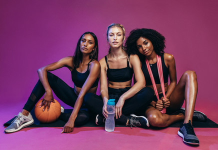 Diverse group of fitness women
