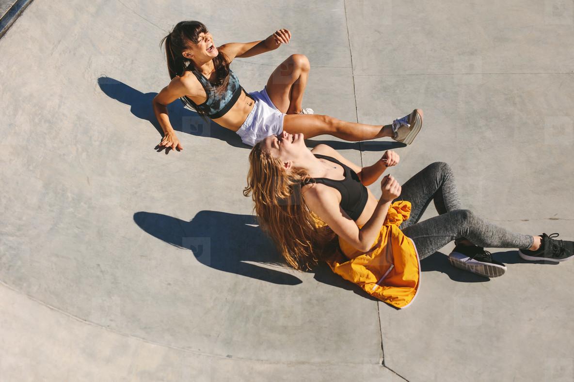 Girls enjoying at skate park