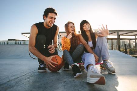 Friends at skate park