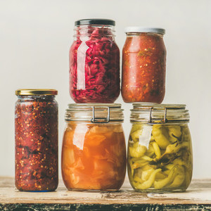 Autumn seasonal pickled or fermented vegetables  Home food canning concept