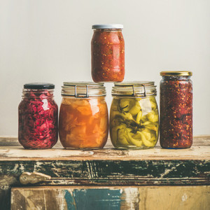 Autumn seasonal pickled or fermented colorful vegetables  square crop