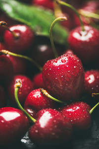 Fresh wet sweet cherries texture wallpaper and background close up