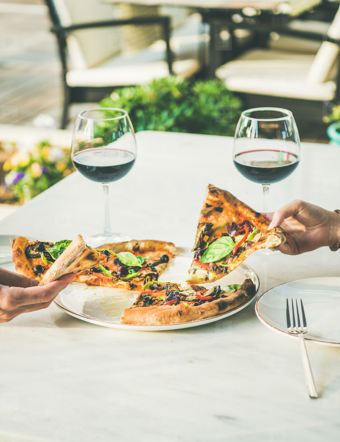Summer dinner or lunch with pizza and wine