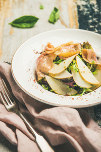 Summer salad with smoked turkey ham and pear slices