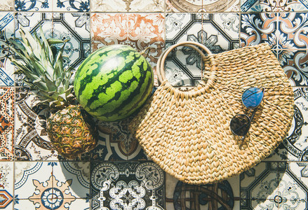 Summer lifestyle background with fruits and straw bag  horizontal composition